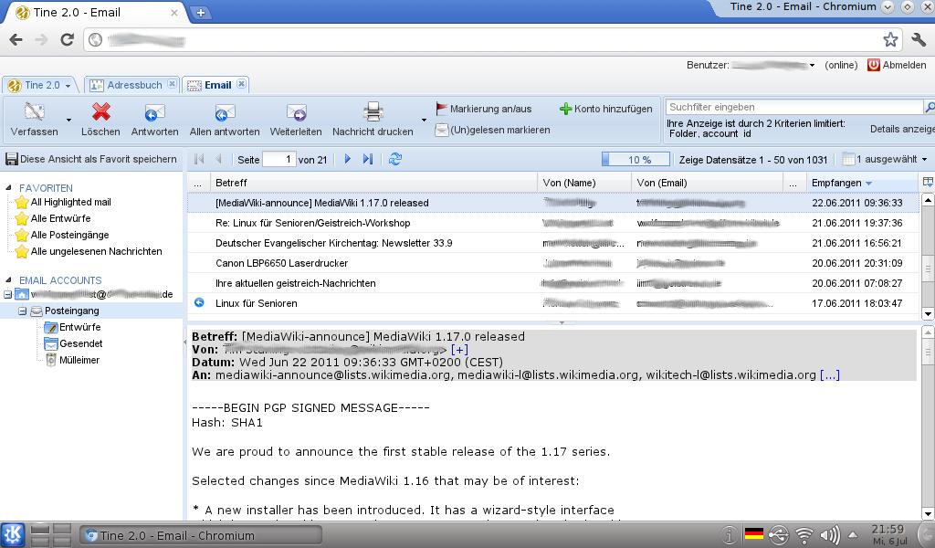 Die Mailkomponente von Tine 2.0