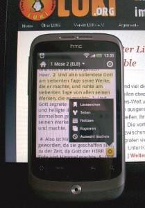 HTC Wildfire unter Android mit dem App Bibel