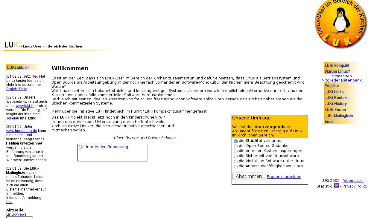 Die erste LUKi-Homepage von 2001