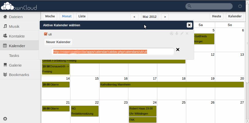 OwnClouds Kalender mit dem importierten Google-Kalender
