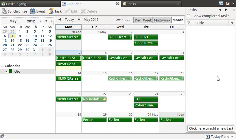 Thunderbird-Lightning mit OwnCloud-Kalender