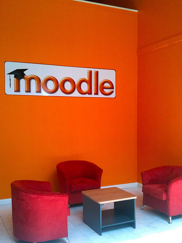Foyer with Moodle sign