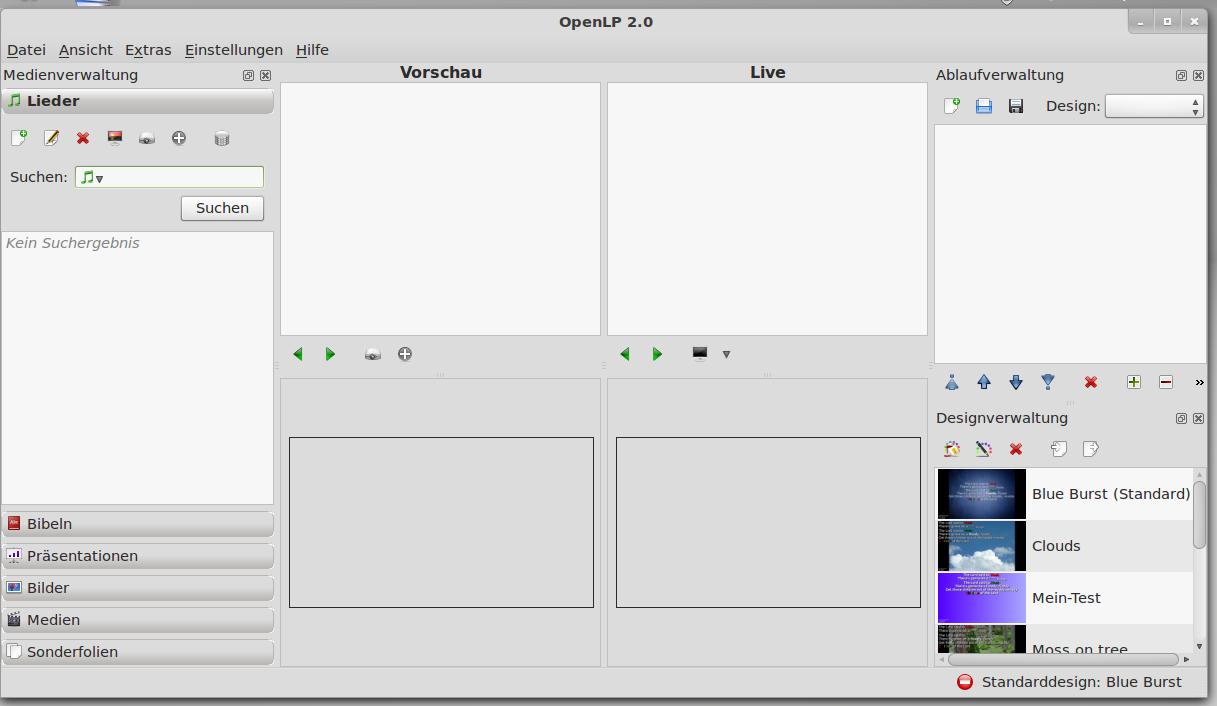 Programmfenster von OpenLP