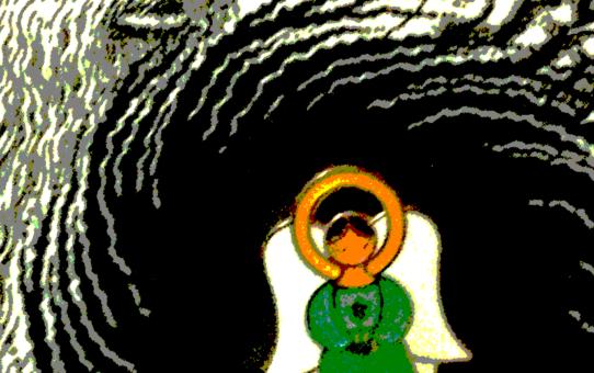 Engel in schwarzem Strudel, unter Verwendung einer Grafik von Robert Crumb