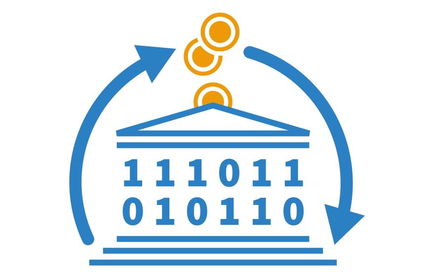 Public Money, Public Code - Logo mit stilisiertem Parlamentsgebäude, das einen Geld-Code-Kreislauf andeutet.