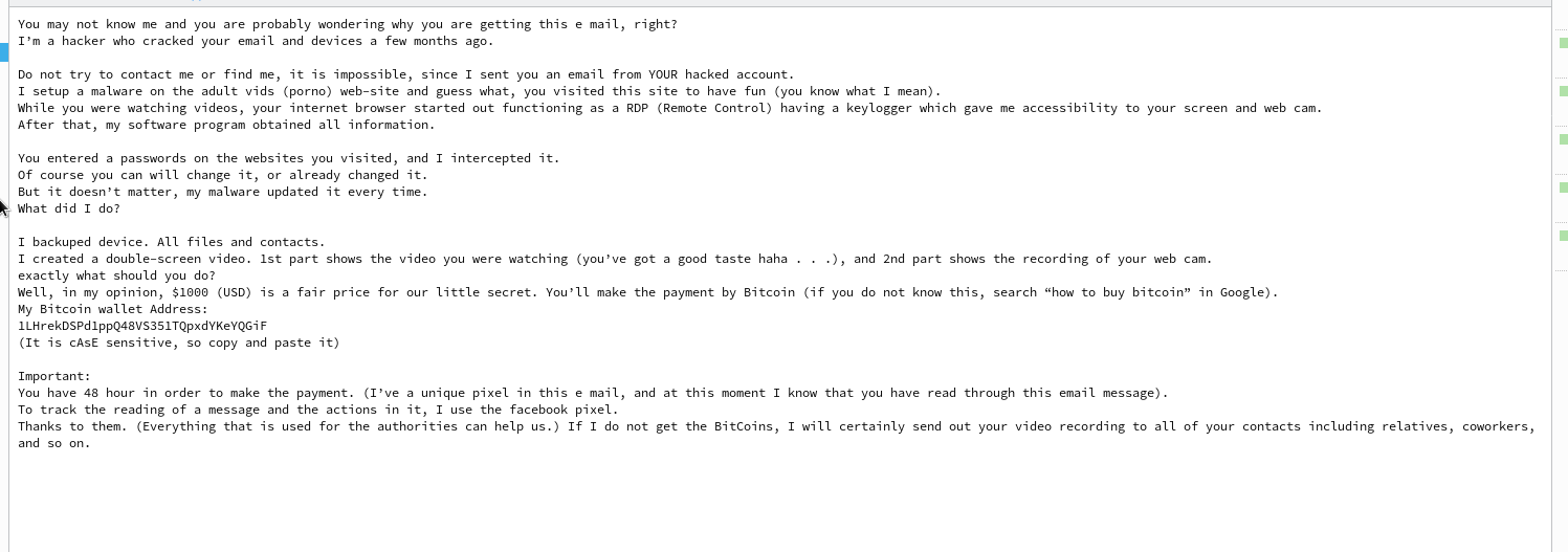 Dies ist nur eine verkleinerte Abbildung der Hackermail, die behauptet, den Mailaccount gehackt zu haben.