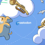 Mastodon-Header, der ein fröhliches Mammut und zwei Trompeten mit Brieftauben zeigt.
