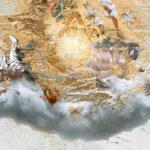 Darstellungen Gottes zusammengestellt in einem Objekt, das wie eine Wolke mit goldenem und einigen farbigen Objekten aussieht. Nichts ist ganz eindeutig zu sehen. Manche Details erinnern an etwas.
