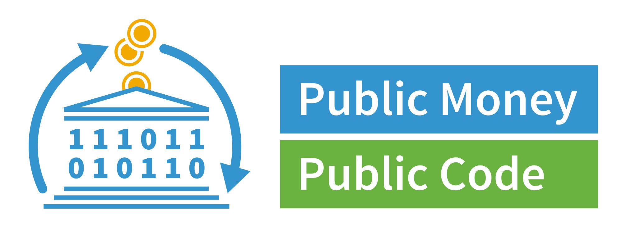 Ein Parlementsgebäude mit Nullen und Einsen und einem Kreislaufpfeil außenherum. Daneben der Titel: Public Money, Public Code.