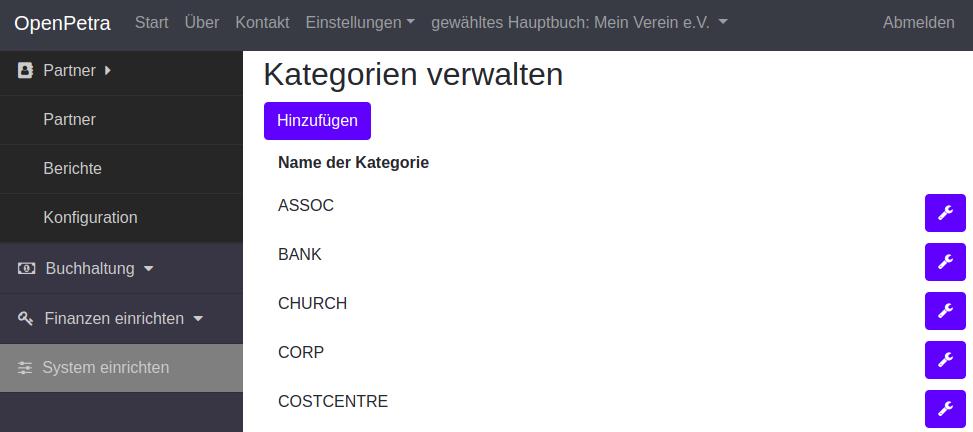 Zeigt wie man in OpenPetra Kategorien verwalten kann