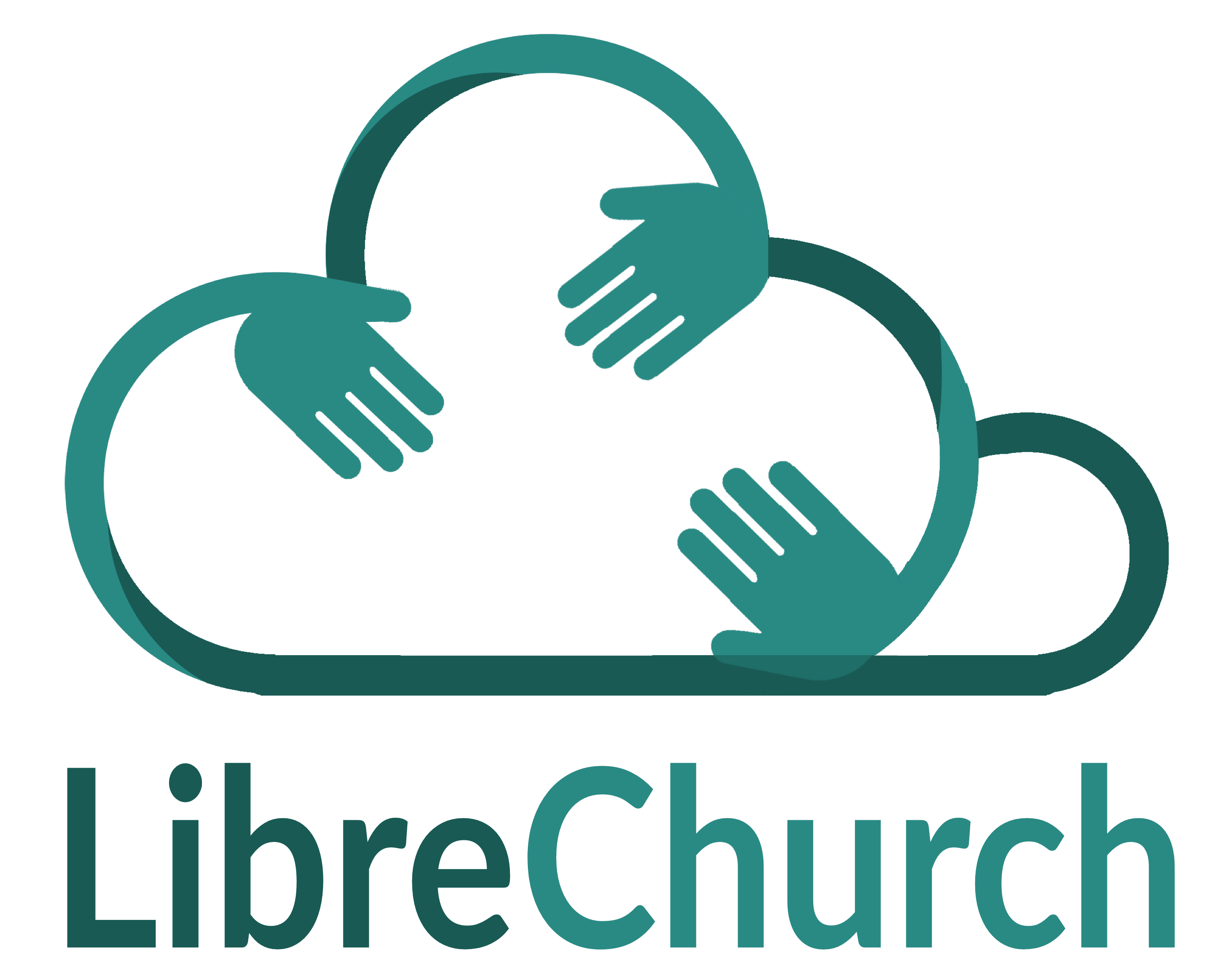 Logo des LibreChurch-Projektes: Drei Hände strecken sich in einer Wolke entgegen.