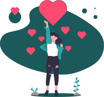 Stilisierte Illustration: Eine Frau streckt einen Arm nach oben und sendet ein großes, viele kleine Herzen zum Dank. Kleine Pflanzen wachsen am Boden.