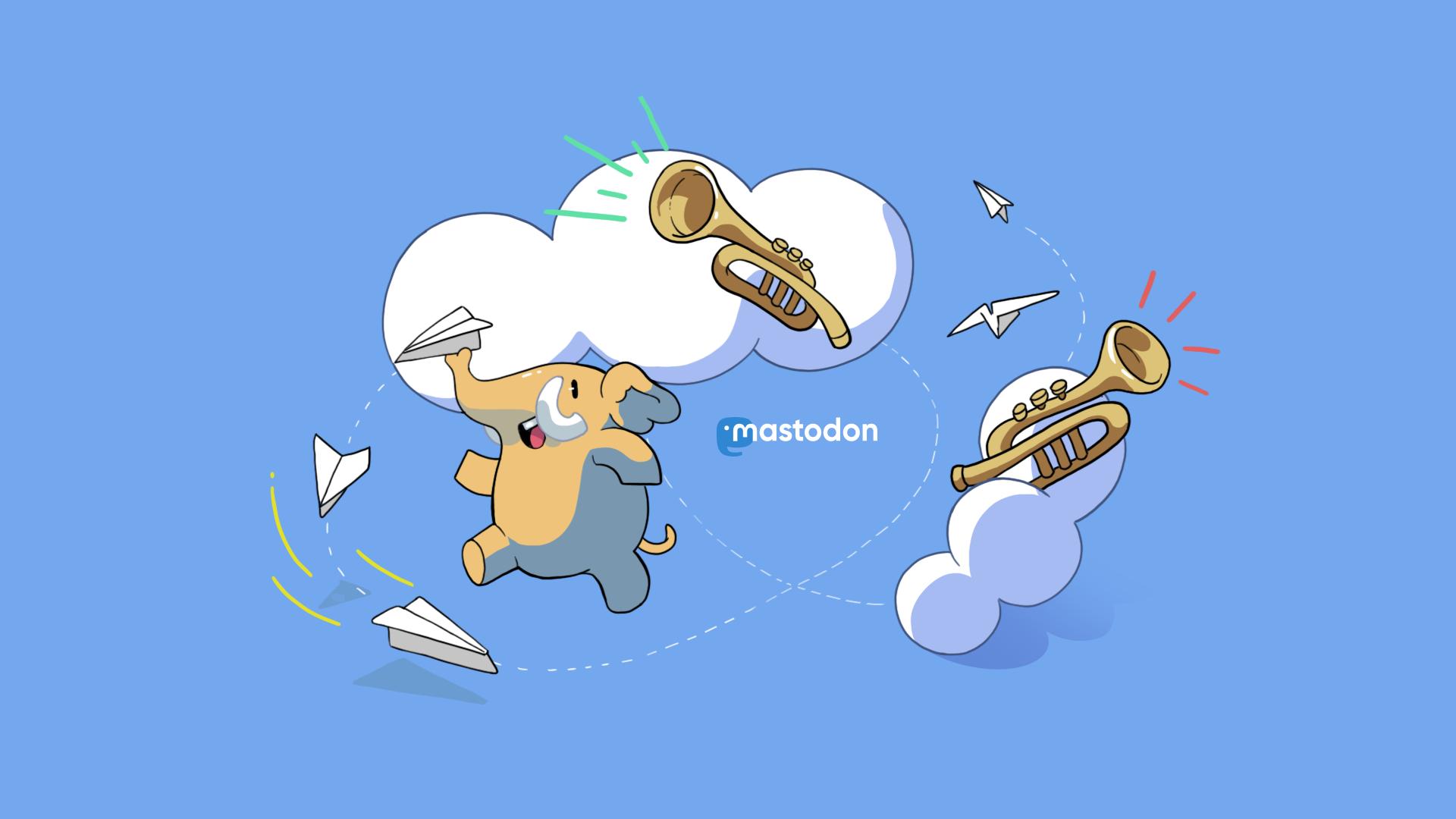 Ein Papierflieger-sendender Elefant kreist mit Trompeten um das Mastodon-Logo