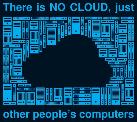 Schrift in englisch: Es gibt keine Cloud, nur Computer anderer Leute. In der Mitte eine schwarze Wolke, dahinter schematische Rechner.