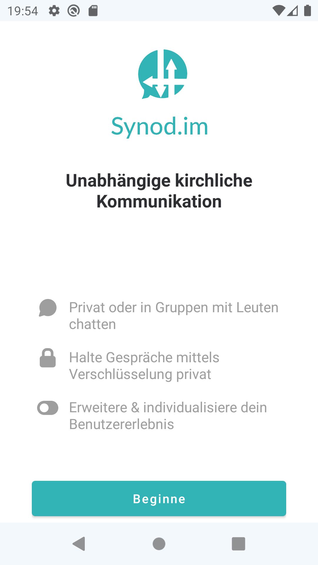 """Screenshot des Startbildschirms von Synod.im. Oben ist das Logo zu sehen mit der Unterschrift: """"Unabhängige kirchliche Kommunikation"""""""