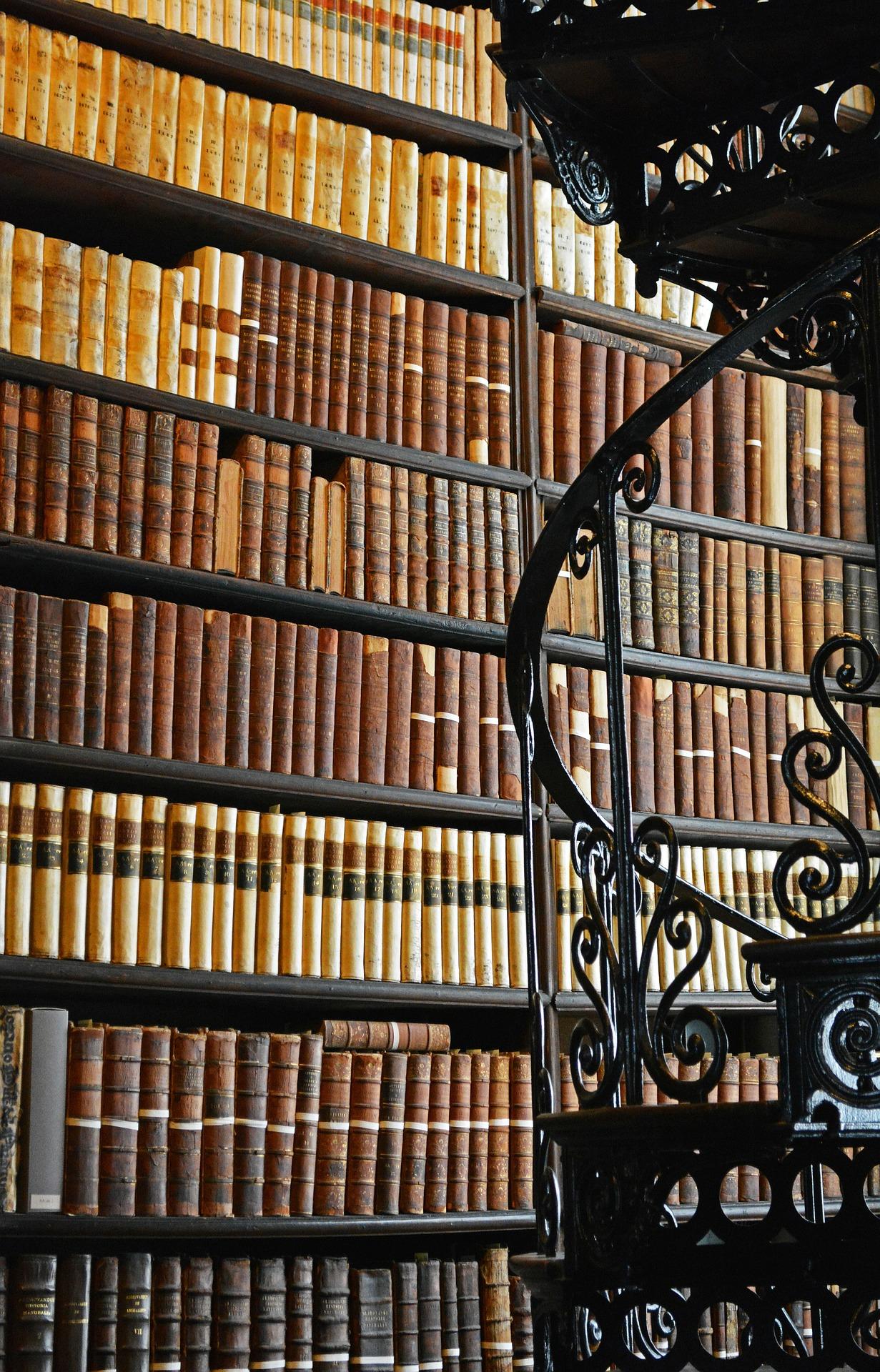 Ausschnittansicht einer großen Bücherwand einer Bibliothek hinter einer schmiedeeisernen Wendeltreppe.