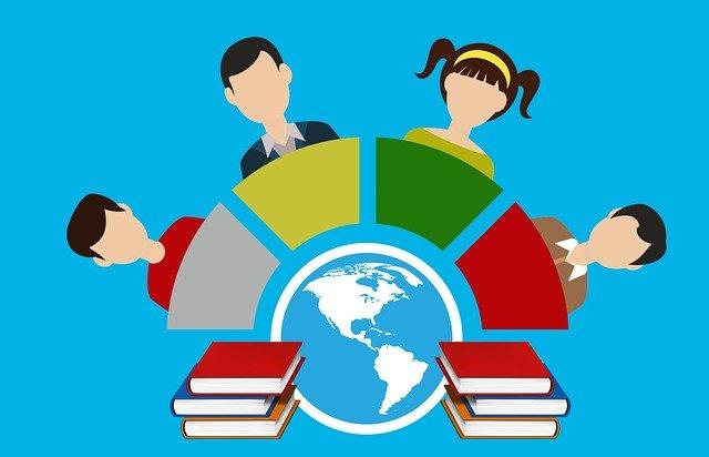 Graphik zeigt stilisiert Menschen, die an Schreibtischen rund um einen Globus sitzen und Wissen/Bücher studieren.